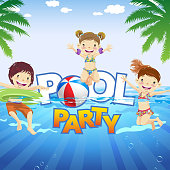 Kids playing and swimming at the pool party