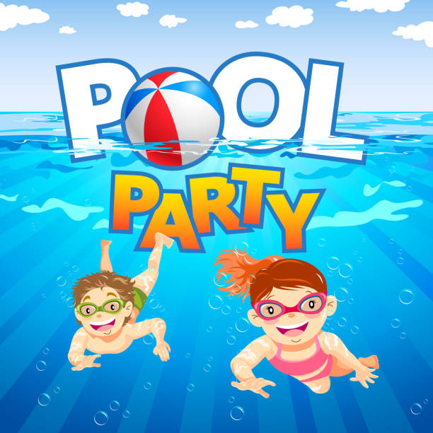 Kids Pool Party Enjoy the summer party with kids swimming and diving at the pool pool party stock illustrations