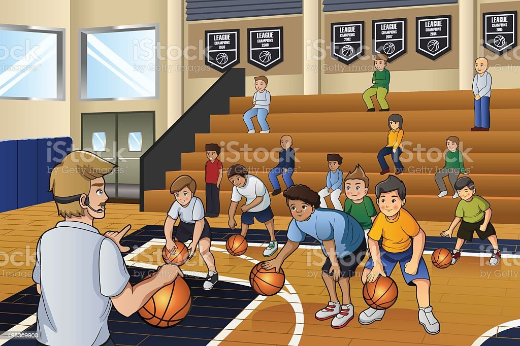 Kids Practicing Basketball vector art illustration