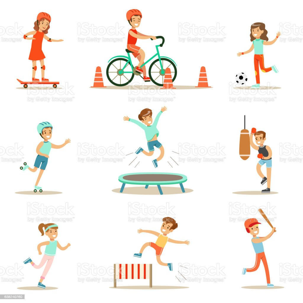 Kids Practicing Different Sports And Physical Activities - ilustración de arte vectorial