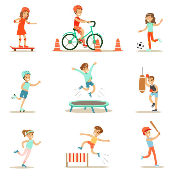 Kids Practicing Different Sports And Physical Activities – Vektorgrafik