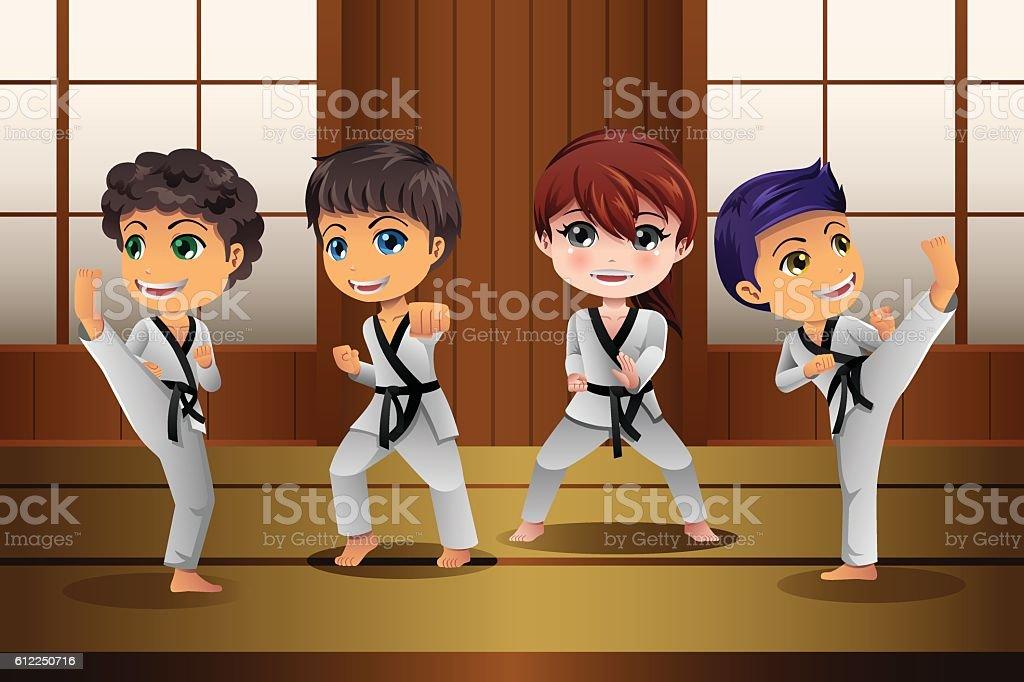Kids Practicing Martial Arts in the Dojo - ilustração de arte em vetor