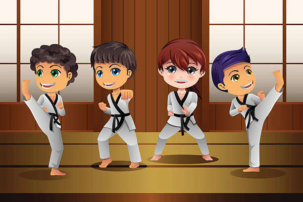 kids practicing martial arts in the dojo - martial arts stock illustrations