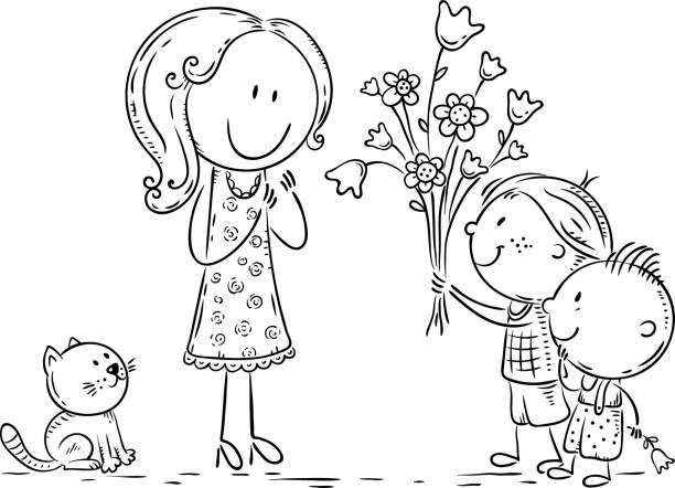 Kids presenting flowers to their mother or teacher, line art vector art illustration