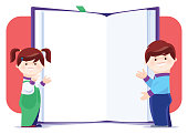 vector illustration of little boy and girl presenting with book