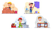 Kids professional workers. Builder brickwork, wall painter, plumber fixing sink drain pipes, carpenter do woodwork using table saw. Children craftsman work set. Flat style vector character isolated illustration
