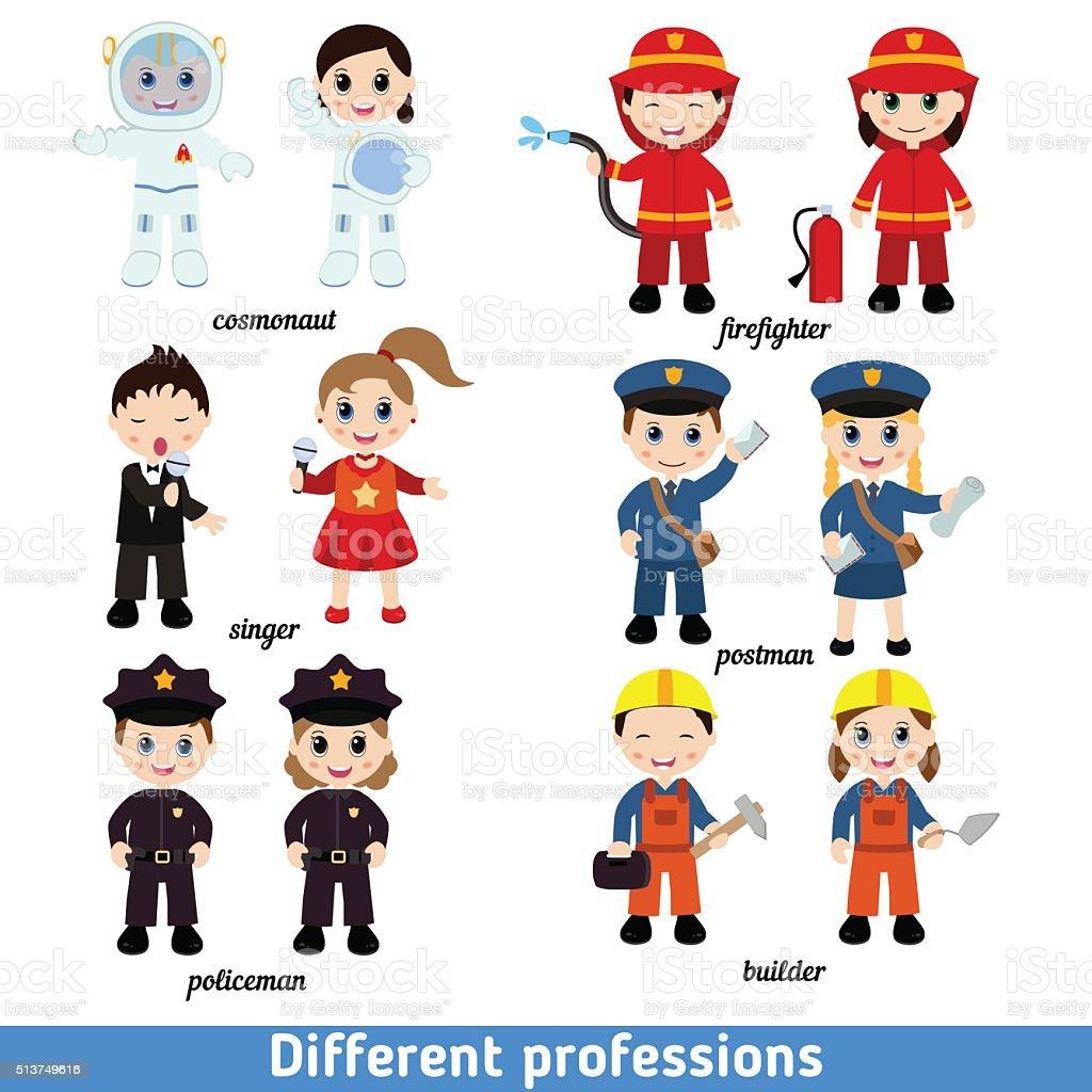 Ilustración De Niños De Las Profesiones Y Más Vectores Libres De Derechos De Adulto