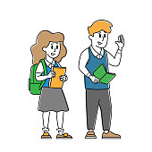 istock Kids Pupils Characters Wearing Uniform with Backpacks and Textbooks. Children Come to School to Get Education 1283397260