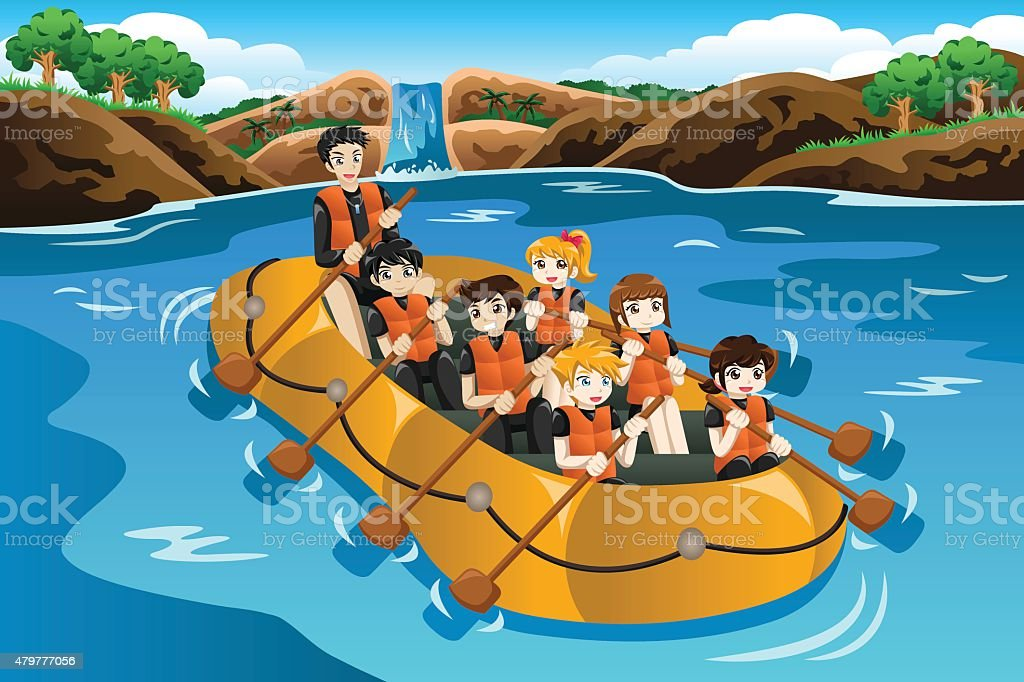 Kids rafting in a river vector art illustration