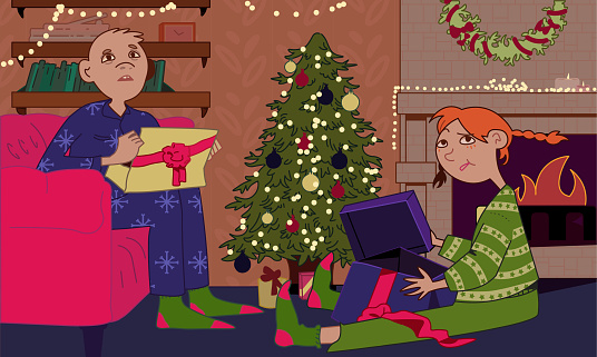 Kids react to bad gifts at Christmas evening, children disappointed over bad presents at holiday.