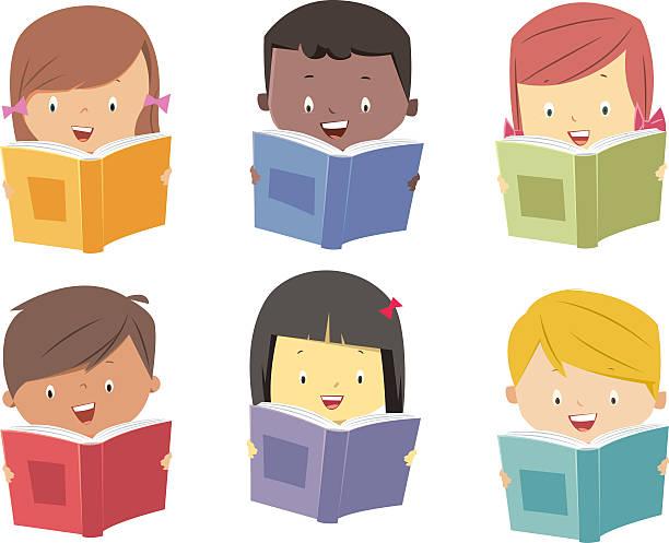 Kids read books Kids read books book clipart stock illustrations
