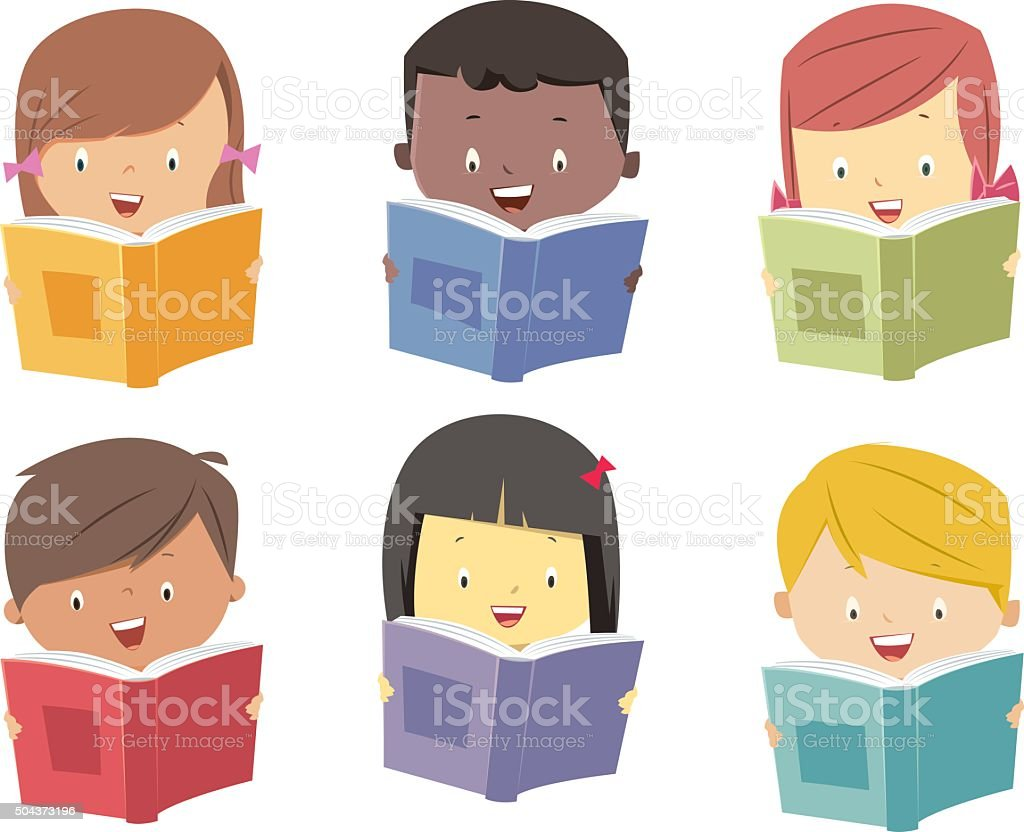 Kids read books vector art illustration