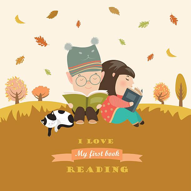 bildbanksillustrationer, clip art samt tecknat material och ikoner med kids reading book at autumn meadow - children autumn
