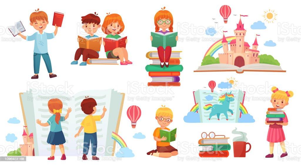 Enfants Lire Livre Bibliotheque De Dessin Anime Enfant