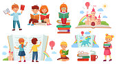 Kids reading book. Cartoon child library, happy kid read books and book stack. Sitting childs adorable learning or education kids character. Isolated vector illustration icons set