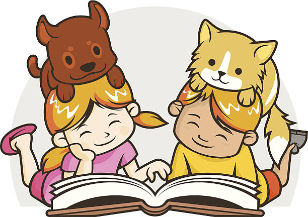 Kids Reading Book vector art illustration