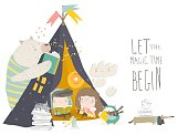 Kids reading book with animals in a teepee tent . Vector Illustration
