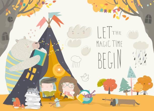 bildbanksillustrationer, clip art samt tecknat material och ikoner med barn läsebok med djur i tältkåta - children autumn