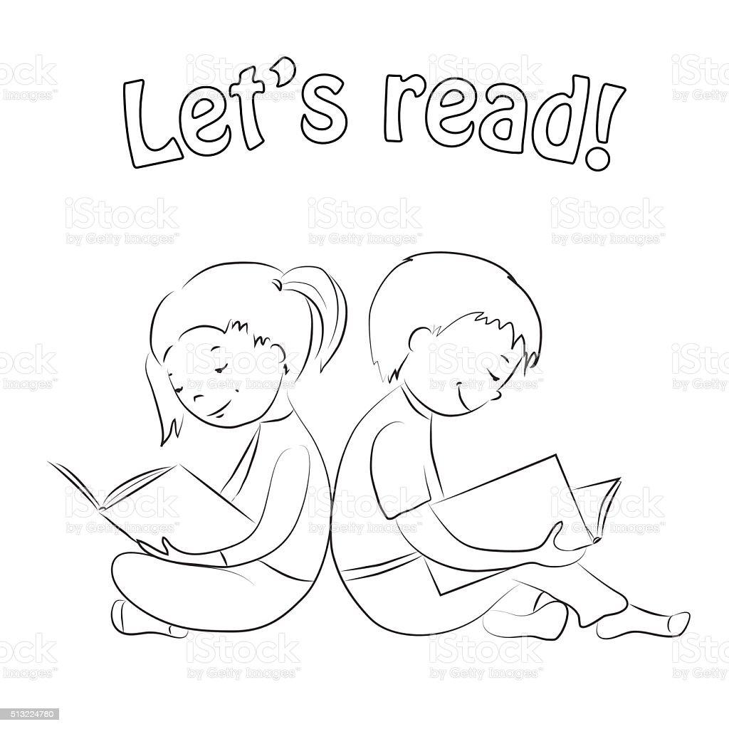 Kinder Lesen Bücherkontur Färbung Seite Stock Vektor Art und mehr ...