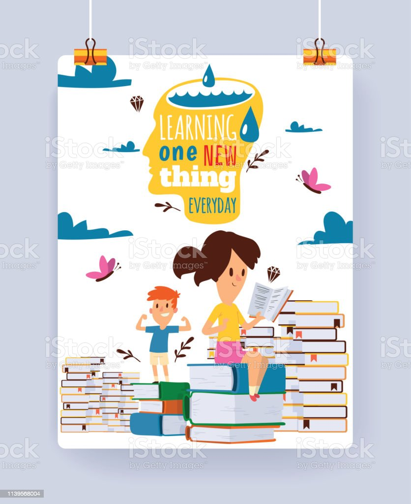 子供読書ベクトル子供キャラクター男の子女の子のしおりイラスト背景と