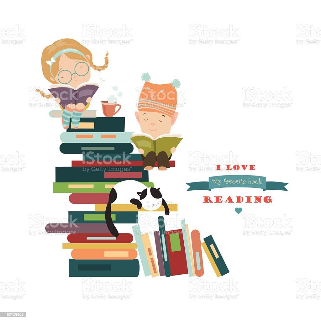 Kids reading books vector art illustration