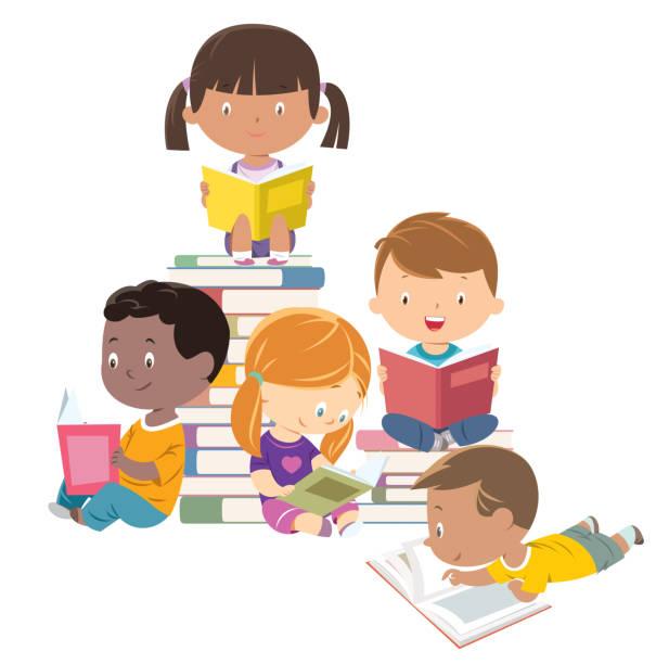 kinderlesen, gruppe von freunden - kind stock-grafiken, -clipart, -cartoons und -symbole