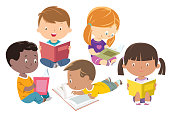 istock Kids reading, group of friends 1140772541