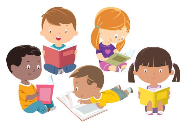ilustrações, clipart, desenhos animados e ícones de leitura dos miúdos, grupo de amigos - reading