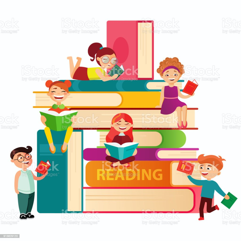 Kids reading on the big stack of books vector flat illustration. Small children around books infographic elements on white background. Children at the library.