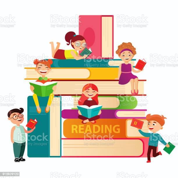 Kids reading on the big stack of books vector flat illustration small vector id915629120?b=1&k=6&m=915629120&s=612x612&h=q7jjnxcd6ohoefdvzflrunxqrvk4hmu6xo6mmwrjkkg=