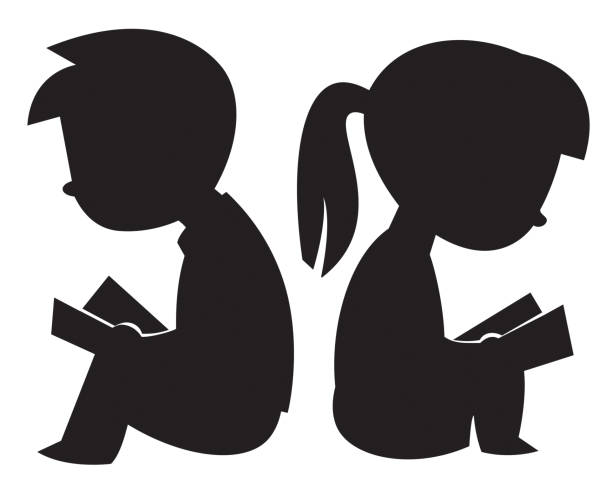 Kids Reading Silhouettes Vector Kids Reading Silhouettes book silhouettes stock illustrations