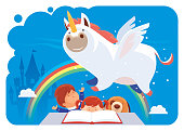 vector illustration of kids reading with unicorn