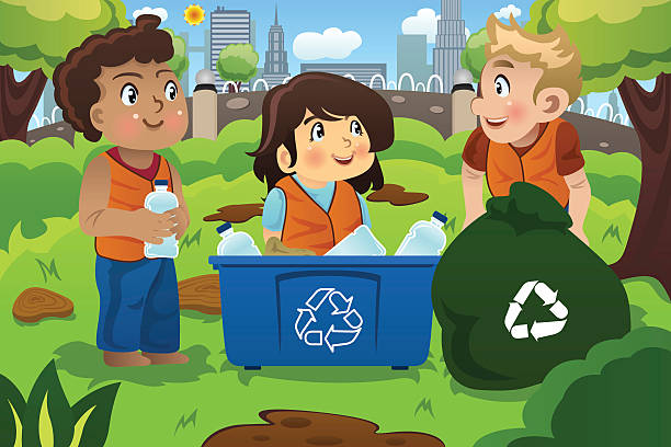 kids recycles bottles - child throwing garbage stock illustrations, clip art, cartoons, & icons