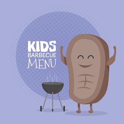 Kids restaurant menu cardboard character. Funny cute cartoon steak barbecue