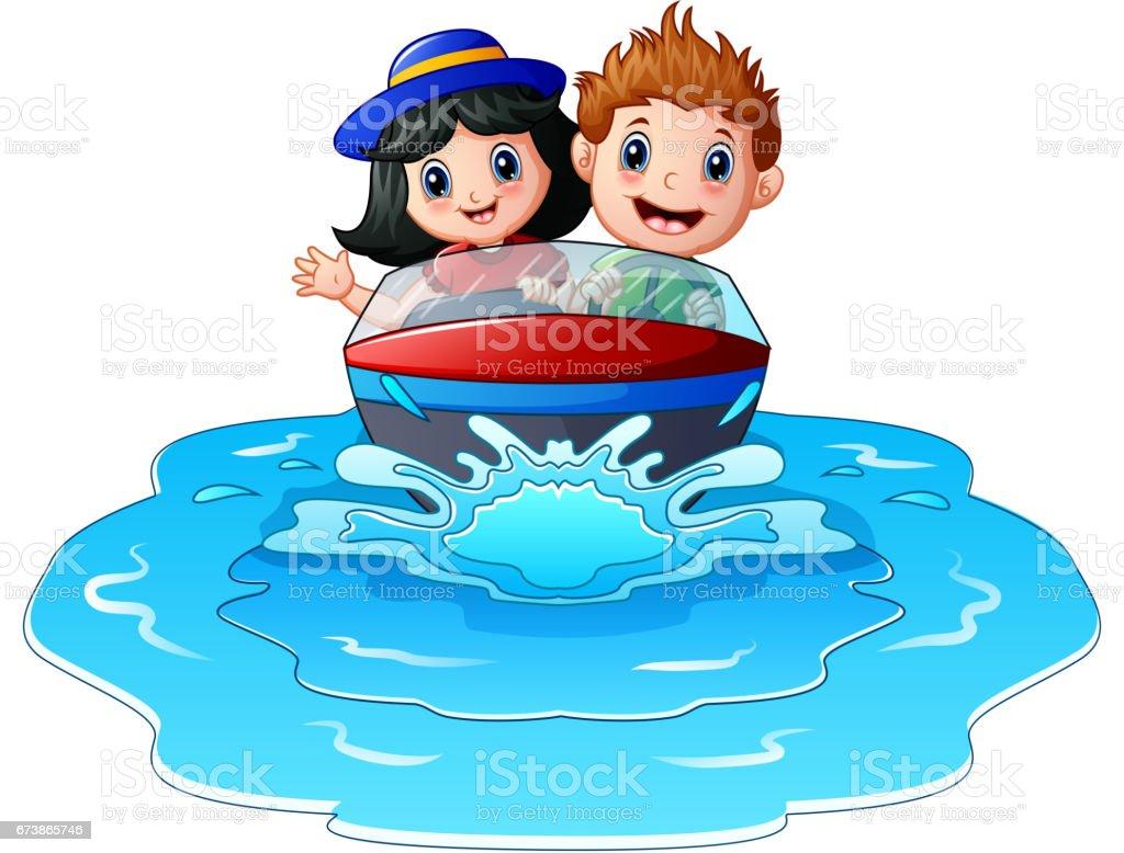 Sahilde bir motorlu tekne sürme çocuklar royalty-free sahilde bir motorlu tekne sürme çocuklar stok vektör sanatı & aktivite'nin daha fazla görseli