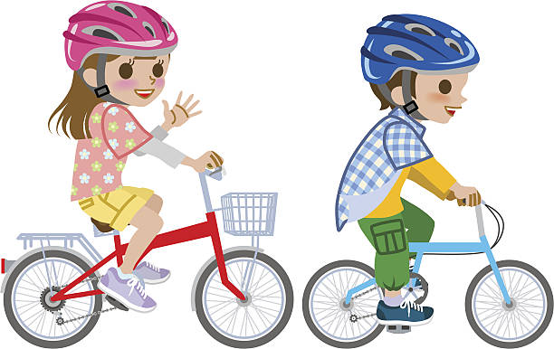 Kids riding bicycle,wore Helmet, Isolated vector art illustration