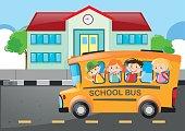 Kids riding on school bus to school