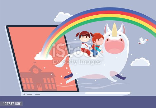 istock kids riding on unicorn with laptop 1277371091
