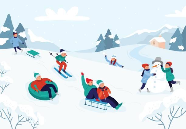 stockillustraties, clipart, cartoons en iconen met kinderen rijden sleeën glijbaan. sneeuw landschap, winter besneeuwde fun activiteiten vector illustratie - christmas family