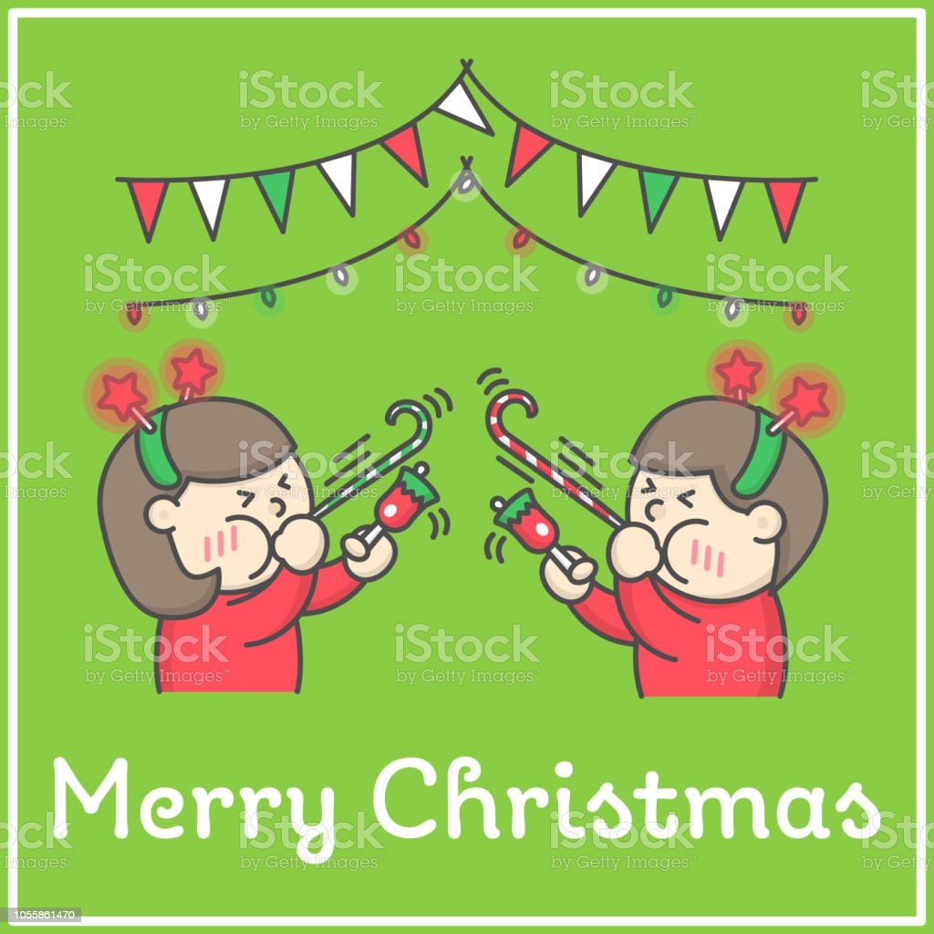 Christmas Celebration Cartoon Images.Kids Ringing Bells And Blowing Festive Whistle Ribbon Party