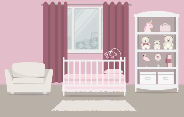 ilustrações de stock, clip art, desenhos animados e ícones de kid's room for a newborn baby. interior bedroom for a baby girl in a pink color - unicorn bed