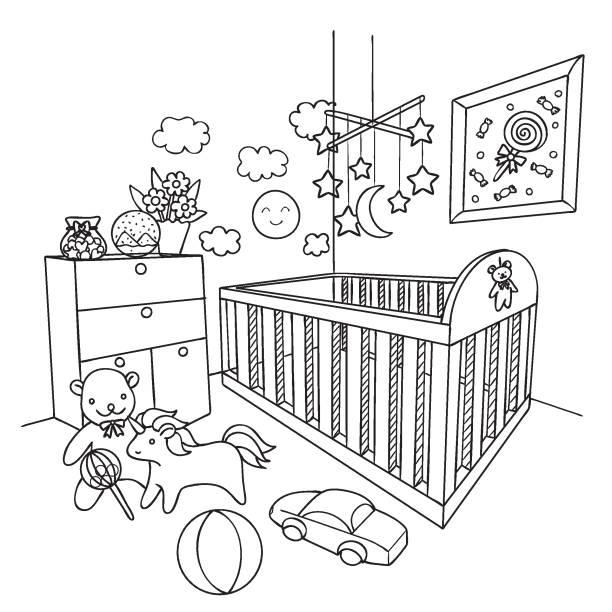 ilustrações de stock, clip art, desenhos animados e ícones de kids room - unicorn bed