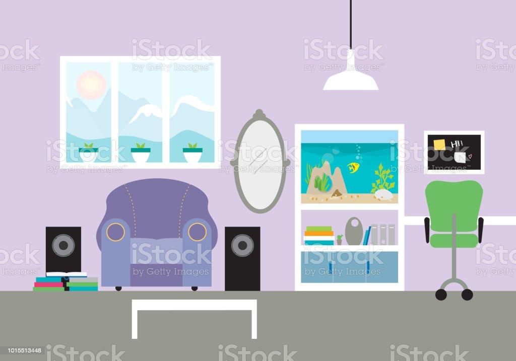 Kinderzimmer Mit Sessel Und Aquarium Mit Stuhl Und Schreibtisch Im
