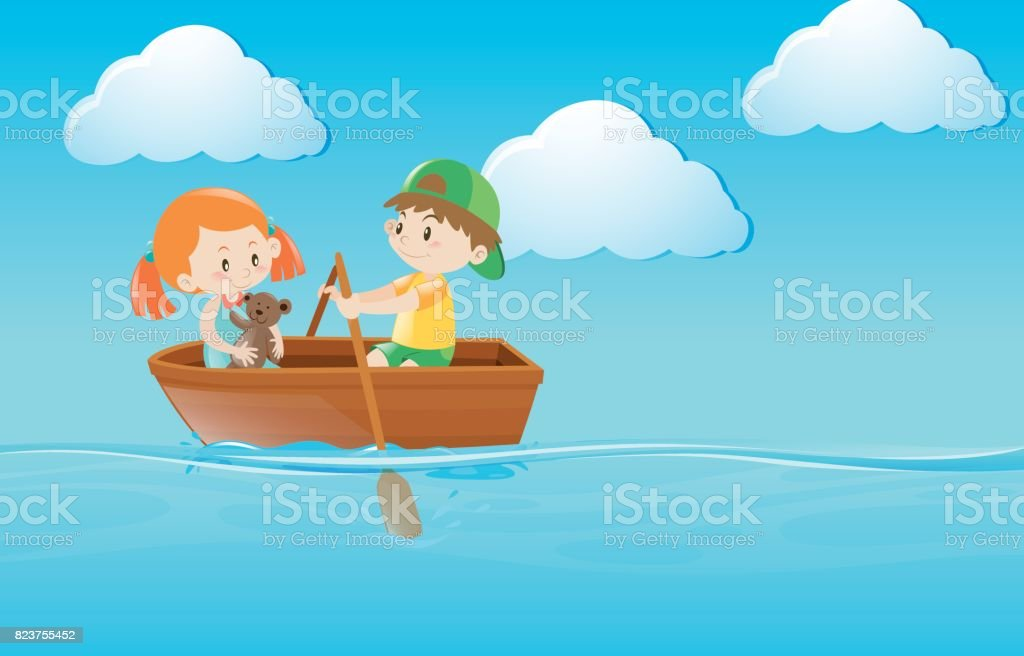 Kids rowing boat in the river vector art illustration