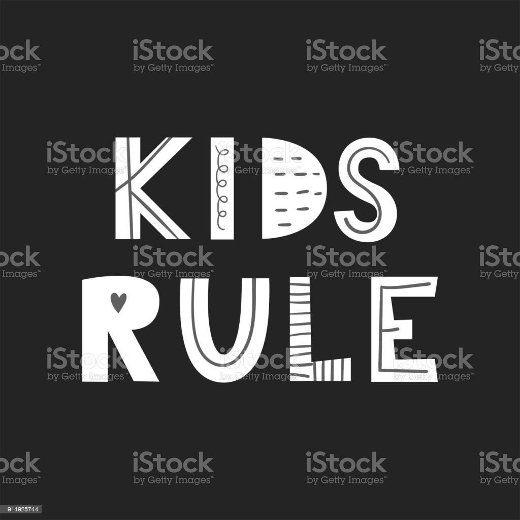 Kids Rule Unique Hand Drawn Nursery Poster With Handdrawn Lettering