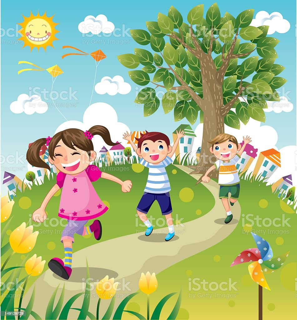 Kids Running vector art illustration