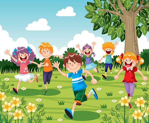 illustrations, cliparts, dessins animés et icônes de enfants courir - nuage 6