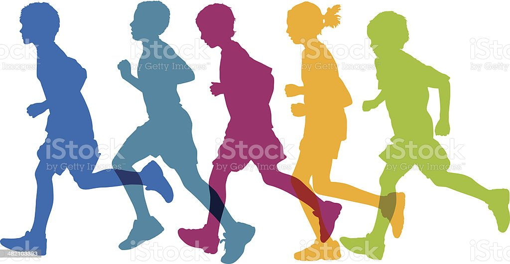Kids Running vector art illustration