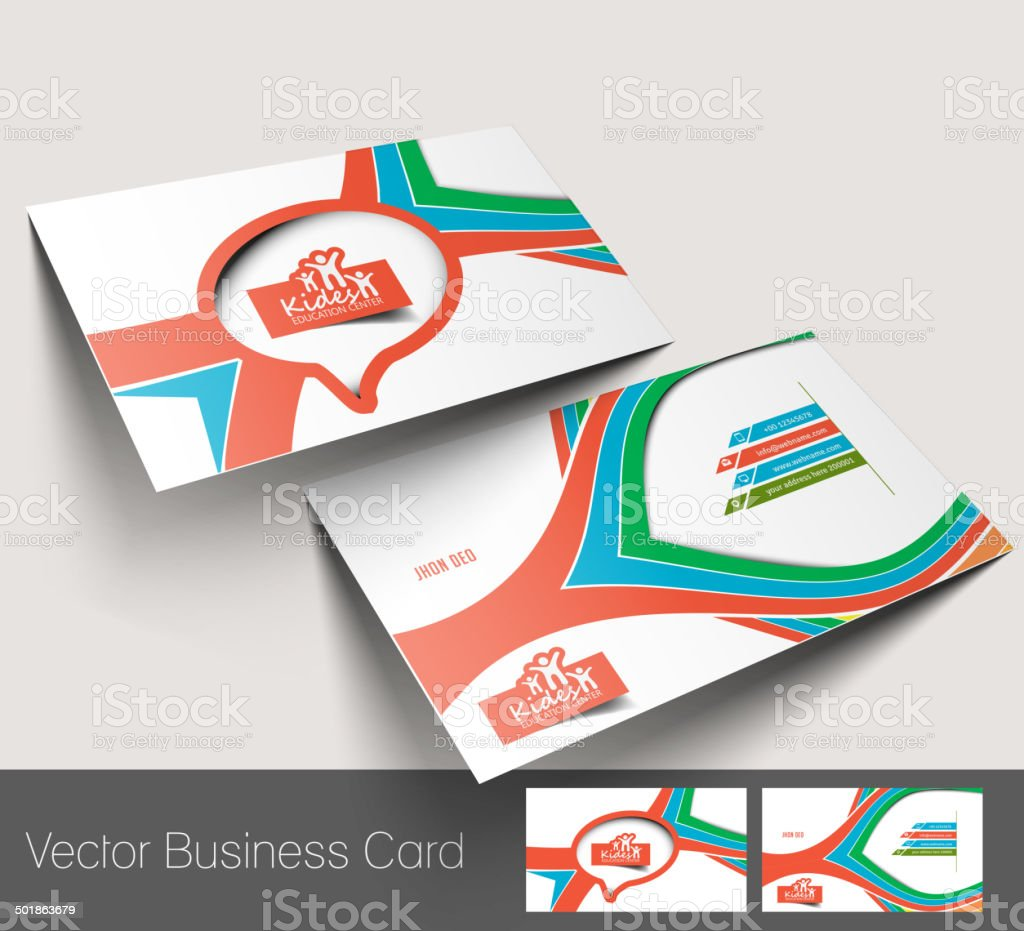 Kids School Business Card Stock Vector Art & More Images of Abstract ...