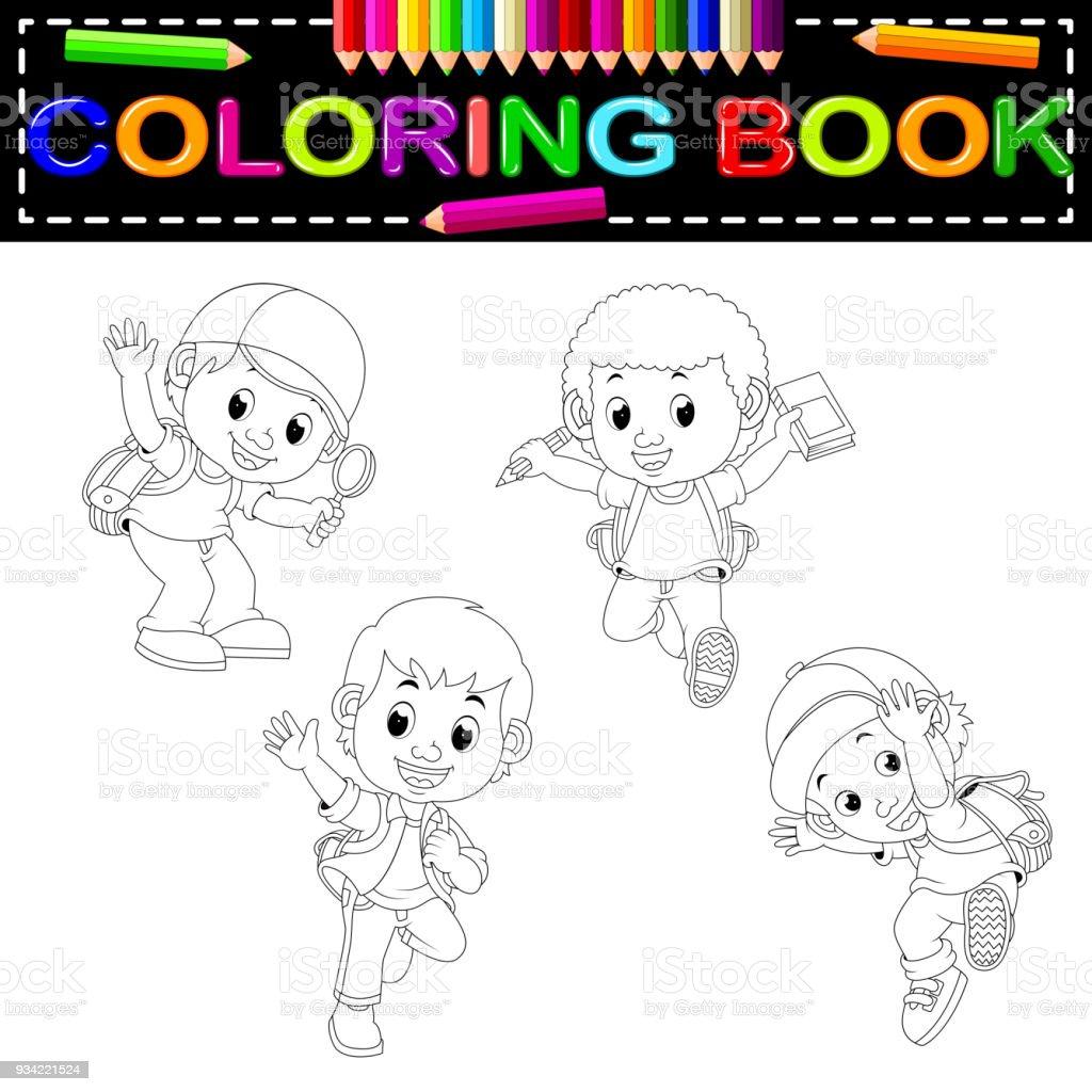 Cocuklar Okul Boyama Kitabi Stok Vektor Sanati Animasyon